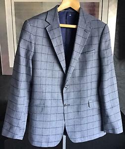 M&S Collezione Italian Nova Fides Mens Smart Linen & Cotton Blue Check Blazer 44
