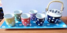 Oriental Tea Set - Polka Dot Porcelain Teapot & 5 cups