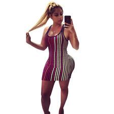 Sexy Women's Fashion Sleeveless Striped Summer Casual Clubwear Bodycon Dress