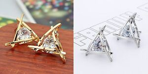 Gold Plated, Rhodium Plated 19mm Triangle Austrian Crystal Zircon Stud Earrings