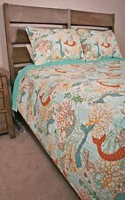 Queen Quilt Set Dancing Mermaids Seahorses Seashells Coastal Cottage