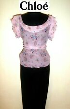 CHLOE ~ Very stylish SET ~ silk Floral top + black pants ~ size: S-M * AUTHENTIC