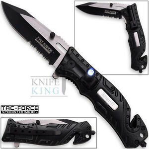 "7.75"" TAC FORCE SHERIFF RESCUE FLASHLIGHT SPRING ASSISTED FOLDING POCKET KNIFE"
