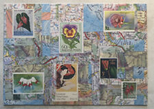 Used Note Card ~ Map with stamps of the world by Daniella Woolf