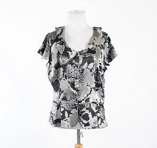 Black gray floral satin WORTHINGTON shortsleeve buttondown drop waist blouse PXL