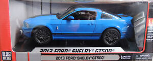 BLUE 2013 FORD SHELBY GT500 MUSTANG SHELBY 1:18 SCALE DIECAST METAL CAR