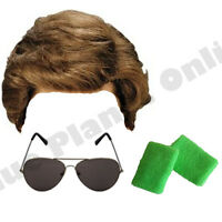 MENS GEORGE MICHAEL 1980S 80S STREET WIG SUNGLASSES WRISTBANDS WHAM FANCY DRESS