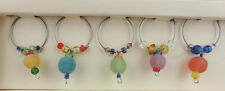 PIER 1 IMPORTS Dangling Pastel Beads Set of 5 Wine Glass Charms NEW