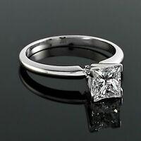 1.12 Carat H/VS1 Princess Cut Diamond Solitaire Engagement Ring 14K White Gold