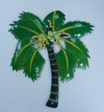 "OUTDOOR 15"" METAL HAITIAN CANARY PALM TREE  HANGING TROPICA WALL ART DECOR GREEN"