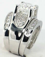 Bold Bridge Round 3.12 CT. Cubic Zirconia Bridal Wedding 3 PC. Ring Set - SIZE 7