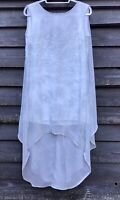 RELIGION Pale Blue/Grey Chiffon Dress, Deep V Back, Asymmetrical Hem Size M UK12