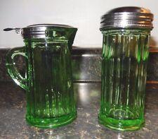 Green Depression Glass Reproduction Cream & Sugar Metal Lids~VGC+~Fast Shipping!
