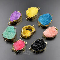 Natural Druzy Quartz Geode Bracelet Necklace Connector Healing Charm Beads Gold