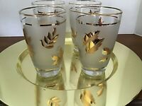 LIBBEY GOLDEN FOLIAGE FROSTED BAND LEAVES TUMBLER GLASSES SET 4 1953 - 1978
