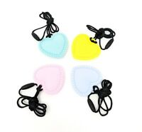 Heart Sensory Chew Silicone Necklace Pendant BPA Free Autism ADHD UK Seller