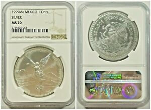 1999 Silver Libertad 1 oz  - NGC MS 70 - Only 9 MS 70