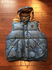 Vintage Polo Ralph Lauren Mens Down Hooded Blue Leather Puffer Vest Jacket XL