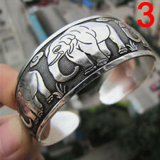 Tibetan Silver Plated Elephant Tibet Totem Bangle Jewelry Cuff Wide Bracelet Rx