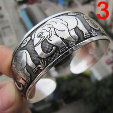 Tibetan Silver Plated Elephant Tibet Totem Bangle Jewelry Cuff Wide Bracelet FT