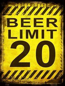 Beer Limit 20 Funny Metal Sign For Bar Pub Man Cave