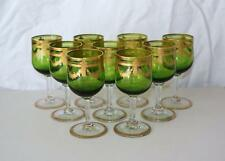Saint Louis French Green Glass Gilt Etched 9 Stems/Glasses early 20th century