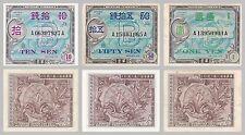 Japan 10,50 Sen, 1 Yen 1945 p63,65,67a vzgl