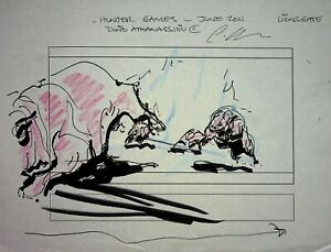 THE HUNGER GAMES 2012 Signed DINO ATHANASSIOU Hand Drawn Storyboard Page  #AD