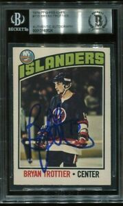 ISLES HOF BRYAN TROTTIER signed autographed 1976-77 OPC ROOKIE CARD RC BECKETT