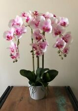 New Artificial Fake Real Touch Potted Phalaenopsis Orchid Pink Purple 65cm H