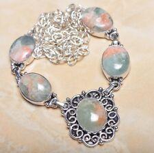 "Sterling Silver Necklace 21"" #N00685 Handmade Unakite Jasper Gemstone 925"