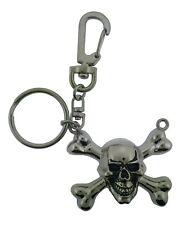 Skull Skeleton Cross Bones Silver Chrome Rock Rebel Keychain Halloween Key Chain