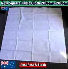 NEW Cotton Square Table Cloth 200cm x 200cm - White with Flower Pattern