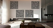 Islamic Wall Art & Crystals Vinyl Calligraphy Wall Sticker - Four Quls Kufic