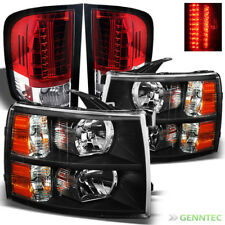 For 07-13 Silverado Black Headlights + R/C  Philips-LED Perform Tail Lights