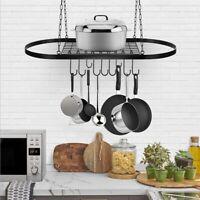 32'' Kitchen Storage Hanging Pot Holder 10 Hooks Pan Hanger Shelf Cookware Rack
