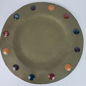 Vintage Sylvestri Philippines Handcrafted 15 Inch Metal ART Platter Hand Painted