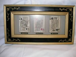 """Playing Card Wall Decor in Black Frame 14""""W X 7 3/4""""H  Jack, Queen and King"""