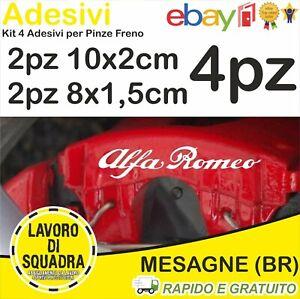 KIT 4 ADESIVI ALFA ROMEO sticker PINZE FRENO MITO 147 159 GIULIA STELVIO BIANCO