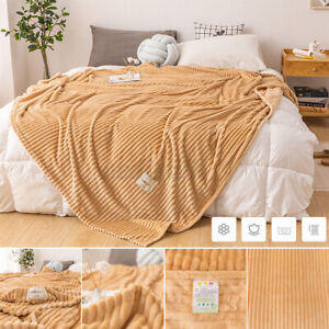 Cuddly Solid Soft Warm Flannel Throws Sofa Bed Blanket Flannel Rug 200x230cm