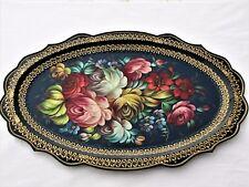 Plateau JOSTOVO Russie 50x33 métal peint main laqué signé tray tablett vassoio