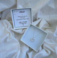 Gift for bridesmaid Jewellery  Sterling silver heart pendant CZ personalized box