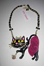 Betsey Johnson Gold Tone Tutu Cat Pendant Statement Necklace M54