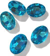 Czech Preciosa Crystal Oval Ocean Blue 5 Loose Beads