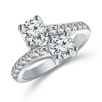 3ct Forever Us Two Stone Engagement Solitaire Diamond Ring 14K Real White Gold