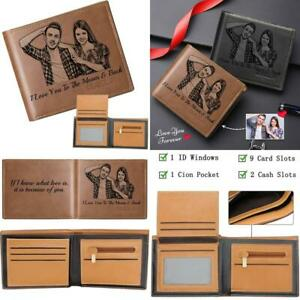 Personalized Wallets For Men,Custom Photo Wallet Engraved,Trifold Leather Wallet