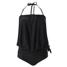 Scuba Women's Tankini Set Bandeau Loose Fit Blouson Drape Front Two Piece 10-22