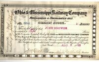 VINTAGE O & M 1882 OHIO & MISSISSIPPI RAILWAY STOCK CERTIFICATE GOOD CONDITION