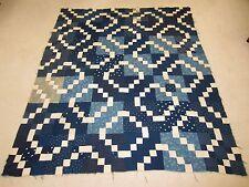 "Antique 1890's Double Irish Chain Indigo Blue Feed Sack Quilt Top 82"" x 70"""