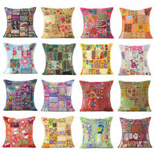 Cushion Cover Sofa Pillow Case Decor Indian Handmade Khambodia Patchwork 16''